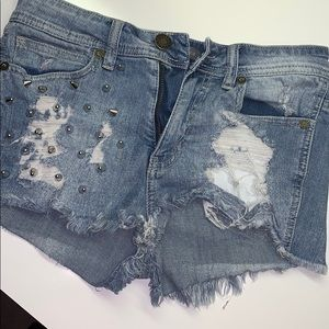 Blue Jean Shorts with studs